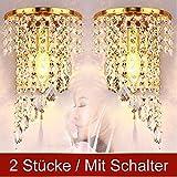 Wenrun Lighting Ein Paar 2 Stücke E14 Modern K9 Kristall Golden Spiegel Edelstahl Wandleuchten Wandlampe für Flur Treppe Übernachtung Leuchte Lampen Licht Mit Schalter (W18cm x H31cm(Gold))