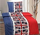 4 tlg. Bettwäsche England Flaggenmotiv Sparset 155x220 cm in blau/rot aus Microfaser
