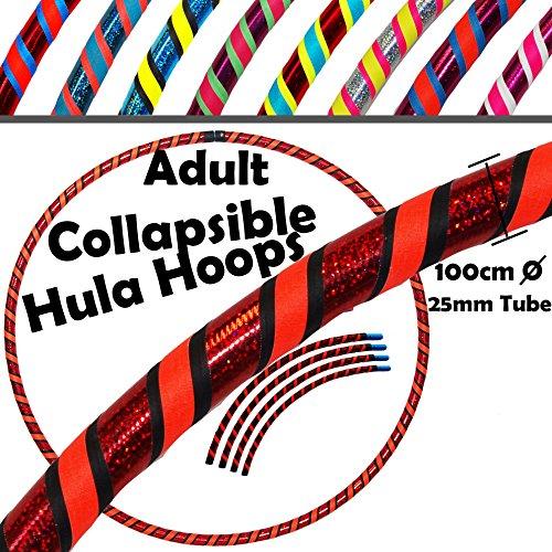 Pro COLLAPSIBLE Hula Hoops 3-Farbe (Ultra-Grip / Glitter Deco) Gewichtetes Zerlegbarer Vier-Piece Hoop + Reisetasche! (100cm / 39
