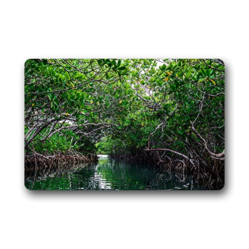 DOUBEE schöne Mangrovenbaum Fussmatte Premium Schmutzmatte Rechteckige Rutschfest Türmatte im Freien Innen 60cm X 40cm