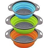 MOOLWEEL Passoire de Cuisine Pliable / 3 Ensembles de passoire, passoire Pliable en Silicone, passoire de Cuisine Pliable, Pa