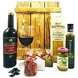Italienisches Geschenkset mit Holzkiste | Italienischer Geschenkkorb gefüllt mit Wein und Delikatessen | Geschenk Set mit Italienische Spezialitäten, Feinkost