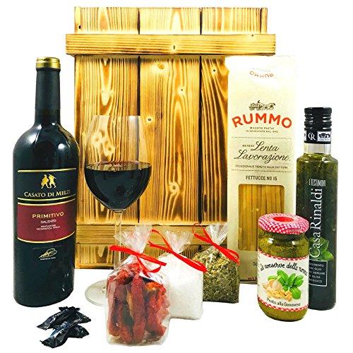 Italienisches Geschenkset mit Holzkiste | Italienischer Geschenkkorb gefüllt mit Wein und...