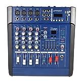 immagine prodotto Ammoon 4 canali, digitale Mic mixer linea Audio Console di alimentazione, amplificatore miscelatore con 48 V Phantom 16 Built-in suo Effects per la registrazione Audio scena Karaoke musica valutazione