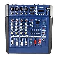 ammoon 4 Channeles Mic Digital Línea Consola de Mezclas de Audio Amplificador Power Mixer con 48V de Alimentación Phantom 16 Incorporado Efectos de Sonido para la Grabación de DJ Etapa Karaoke