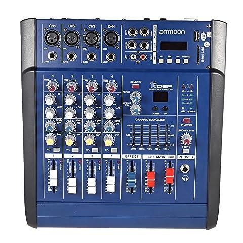 ammoon 4 Kanal Digtal MHK Linie Audio Mischpult Power Mixer Verstärker mit 48V Phantom Macht 16 AUS Sound Effekte DJ Bühne Musikunterricht