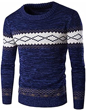 Men 's Sweater Otoño y Invierno épaissie grueso chandails fríos de), monocolor, azul, medium