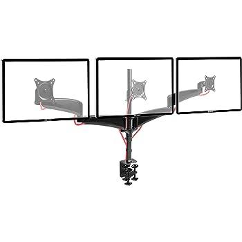 Duronic DM453 Monitorhalterung/Tischhalterung/Monitorständer für DREI LCD/LED Computer Bildschirme/Fernsehgeräte mit Neig, Schwenk und Rotierfunktion