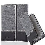 Cadorabo Hülle für Huawei P8 LITE 2015 - Hülle in GRAU SCHWARZ – Handyhülle mit Standfunktion und Kartenfach im Stoff Design - Case Cover Schutzhülle Etui Tasche Book