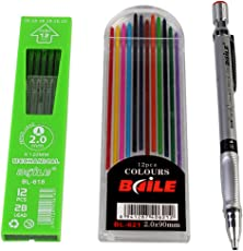 Baile Set of Mechanical Lead ,Pencil 12 Black Leads and 12 Color Leads (10 inches x 8 inches )