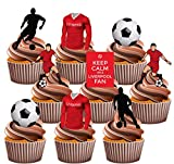 Liverpool Party Pack, 36 Cup Cake Toppers - Edible Stand Up Decorations