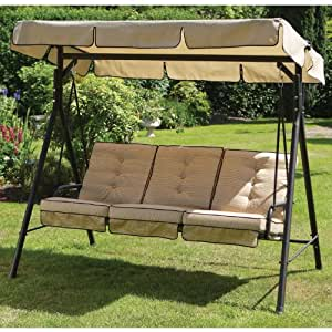 3 Seater Garden Swing Chair Hammock with Shelter: Amazon ...