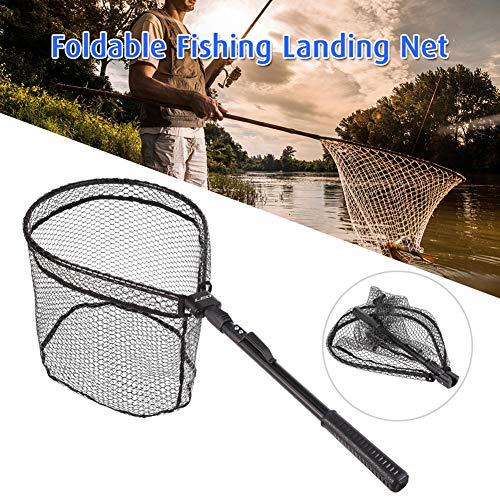 DEBBD Folding Fly Fishing Net Aluminum Folding Landing Net Pole Rubber Net Fishing Accessories -