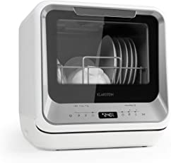 Klarstein Amazonia Mini Spülmaschine • Geschirrspüler • Geschirrspülmaschine • 6 Programme • 5 L Wasser benötigt • LED-Display • Touch • inkl. Zubehör • silber