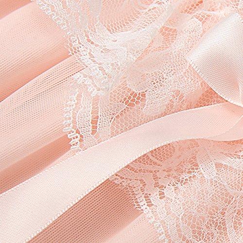 Donna Cotone Accappatoio Lungo,Filato Elegante Vestaglie da Notte Grande Taglia Camicie Da Notte Pigiama Rosa