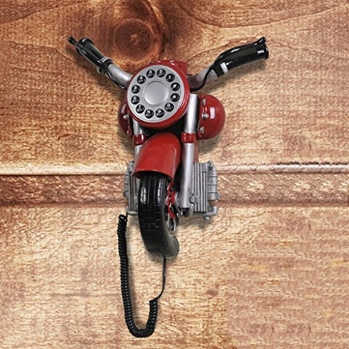 Liu Yu·kreatives Haus, kreative rote Harz Hauptdekoration personalisierte Motorrad Kopf Retro Telefon (Personalisierte Adressbuch)