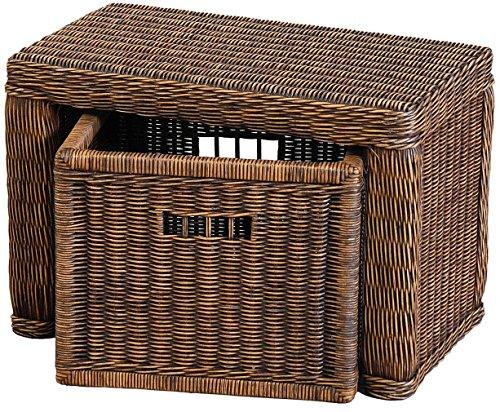 Stabile Sitzbank Flur aus echtem Rattan / Bad-Hocker Sitz-Bank Natur-Rattan / schmales Bett Bänkchen Schlafzimmer mit Korb Box zur Aufbewahrung Stauraum (Vintage Braun, 60cm mit Schub)