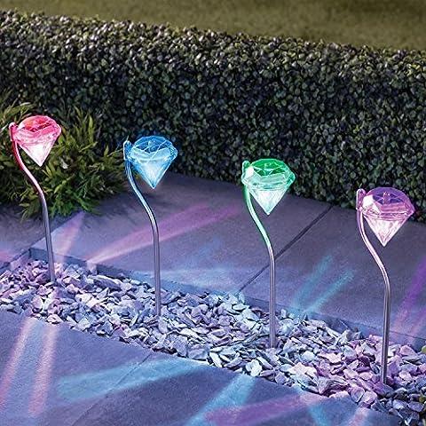 Focos solares de acero inoxidable, LED Solar con forma de diamante, luces que cambian de color, estacas para jardín (4 luces