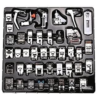 Vzer Professional Domestic 42Pcs Sewing Machine Presser Feet Set for Brother, Babylock, Singer, Janome, Elna, Toyota, New Home, Simplicity, Necchi, Kenmore, and White Low Shank Sewing Machines