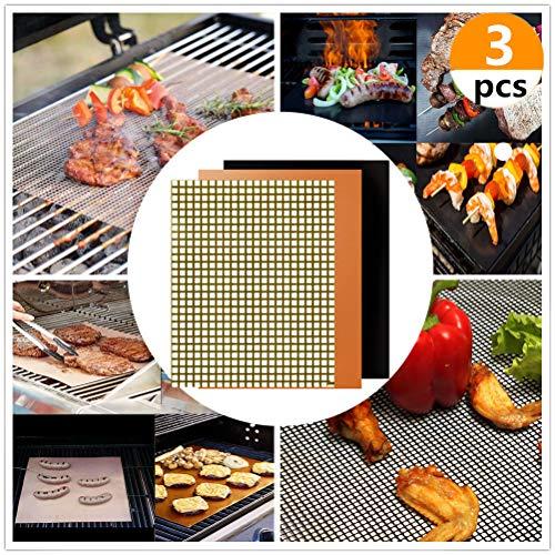 JeVenis 3-teiliges Set antihaftbeschichtete Grillmatten BBQ Grillmatten BBQ Grill Pads BBQ Grill Mesh Matte Kochen Mats -