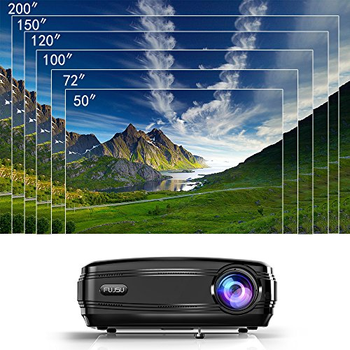 Video Projector,FUJSU 3300 Lumens HD LED LCD Projectors 1080P HDMI USB VGA  SD Card AV for Office PowerPoint Presentations and Home Cinema Theater High