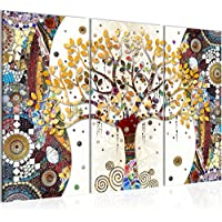 Photo Gustav Klimt - Arbre de vie Décoration Murale 120 x 80 cm Toison - Toile Taille XXL Salon Appartement Décoration Photos d'art Marron 3 Parties - 100% MADE IN GERMANY - prêt à accrocher 004631a