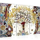 Bilder Gustav Klimt - Baum des Lebens Wandbild 120 x 80 cm - 3 Teilig Vlies - Leinwand Bild XXL Format Wandbilder Wohnzimmer Wohnung Deko Kunstdrucke Gelb - MADE IN GERMANY - Fertig zum Aufhängen 004631a