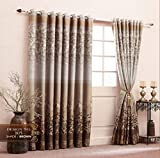 J-Décor Havy Jaqcard 100 % Polyester Curtain panels, with cotton Filing Window Curtain (5 Feet)
