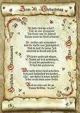 50. Geburtstag Geschenk-Urkunde mit Gedicht
