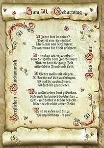 50. Geburtstag Geschenk-Urkunde mit Gedicht: Amazon.de