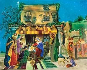 Caspari Christmas Pop-Up Advent Calendar, Nativity Scene