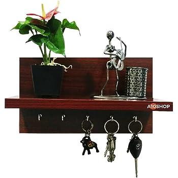 A10Shop Omega 6 Wooden Key Holder With Wall Decor Shelf - Mahogany