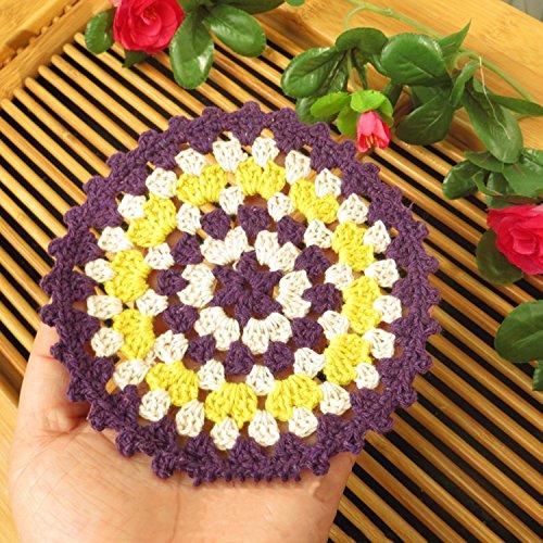 Yazi Hand gehäkelt Deckchen Haare Runde, Tisch Deckchen Tischsets Figuren, baumwolle, violett, 10,9 cm