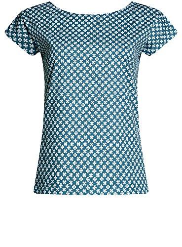 oodji Ultra Damen Lässisges Baumwoll-T-Shirt Blau (7410O)