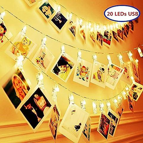 ELINKUME LED Foto Clip Lichterkette, 20 Foto-Clips, 2,2 Meter/7,21 Füße, warmweiß, Stromversorgung über USB, ideal für hängende Bilder, Notizen, Artwork, (Warm Weiß Led Weihnachten Tree)