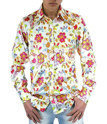 Flower Power Camisa de los años setenta Flores multicolor M