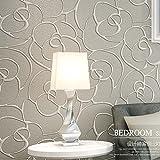 KeTian Moderner puristischer Rose Blume Vlies Tief geprägt 3D texturierte Wohnzimmer Schlafzimmer Tapete Rolle 0,53m x 10 m = 5.3m2, Cream&Gray, 0.53m (1.73' W) x 10m(32.8'L)=5.3m2 (57 sq.ft)