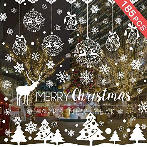 Caiery 185 pcs Schneeflocken Rentier Fensterbild, Statisch Haftende PVC Aufklebe, Winter-deko Weinachts Dekoration, Weihnachten Fenstersticker, Winter Deko Weihnachtsdeko -