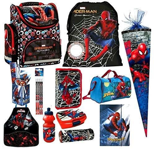 Spiderman 17 Teile Schulranzen RANZEN FEDERMAPPE Tornister Rucksack inklusive Sticker v Kids4shop Tasche Set