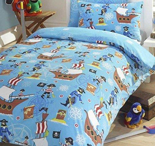 Kids Club Mer Pirates de lit avec Housse de Couette et 2 taies d'oreiller, Coton Polyester, Bleu, Double