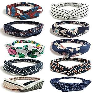 LZYMSZ 10PCS Damen Headbands Blumenmuster Headwrap Twist Knoten Haar Band Yoga Head Packungen Sport Elastic Turban