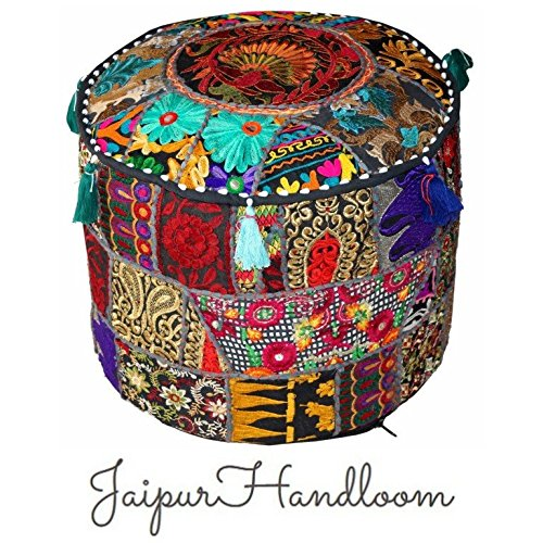 jaipurhandloom-black-indian-pouf-stool-vintage-patchwork-embellished-with-patchwork-living-room-otto