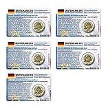 Set - 5 Münzkarten (ohne Münze) Deutschland für 2-Euro Gedenkmünzen 2012 A-J