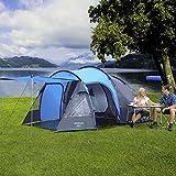 Berger Tunnelzelt Campingzelt Sora 4 Personen, blau grau, Wassersäule 3000 mm, mit Dauerbelüftung, inkl. einhängbarer Bodenplane
