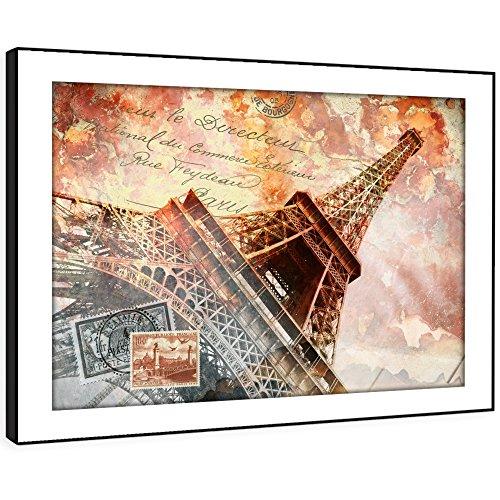 Bfc867e incorniciata immagine della parete stampe d'arte - torre eiffel cartolina d'epoca moderna paesaggio scenico soggiorno camera da letto pezzo home decor guida facile hang (86x61cm)