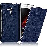 Seluxion - Housse Etui Coque Rigide à Clapet pour Sony Xperia SP Couleur Bleu + Film de Protection