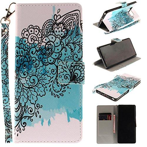 Ooboom® iPhone X Coque PU Cuir Flip Housse Étui Cover Case Wallet Portefeuille Supporter Stand Porte-cartes Dragonne pour iPhone X - Fleur Bleu Iris