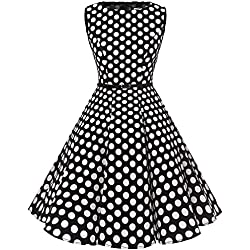 Bbonlinedress 50s Vestidos Vintage Retro Rockabilly Clásico Black White Big Dot XL