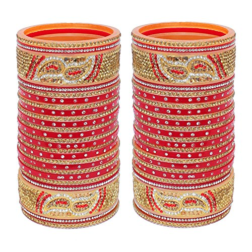 Lucky Jewellery Designer Golden White & Red Stone Chuda Bridal Wedding Choora Fashion Chura Set For Women