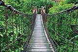 GREAT ART Fototapete Dschungel Hängebrücke 336 x 238 cm - Wandtapete 8 Teile Tapete inklusive Kleister